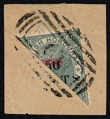 """British Honduras 1888 """"TWO"""" on 50c. on 1s. grey, bisected on piece (SG#35a)"""