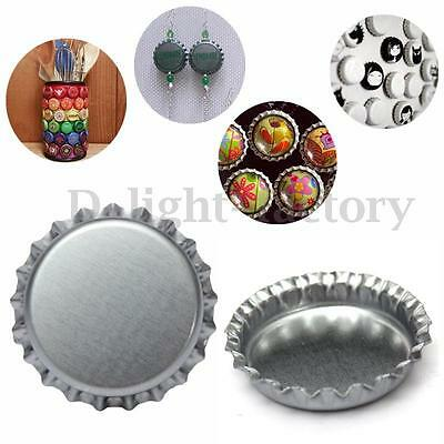 "100pcs Metal Steel Bottle Cap Jewelry Craft Scrapbook DIY Chrome Silver 1"" Party"