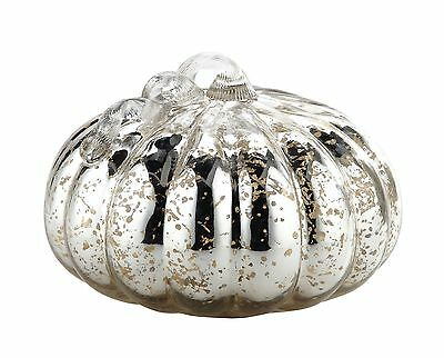 "New 11"" Hand Blown Art Glass Mercury Silver Pumpkin Sculpture Figurine Fall"