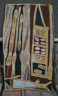 Superb early Aboriginal Bark painting with hunting weapons MUSEUM QUALITY
