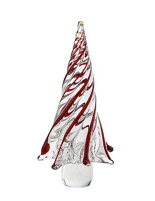 "New 11"" Large Hand Blown Art Glass Christmas Tree Sculpture Figurine Red Clear"