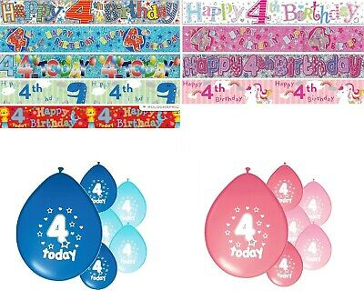 4th BIRTHDAY PARTY BANNERS PINK BLUE DECORATIONS FORTH