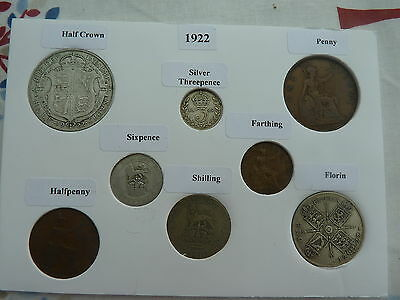 1922 Full Set of 8 Coins in Display Card - Ideal Birthday Present-Half Silver