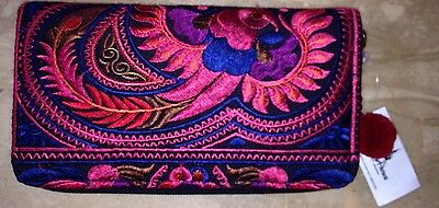 Disney World Upcycled A Mano Fair Trade Wallet/Clutch Red Embroidered