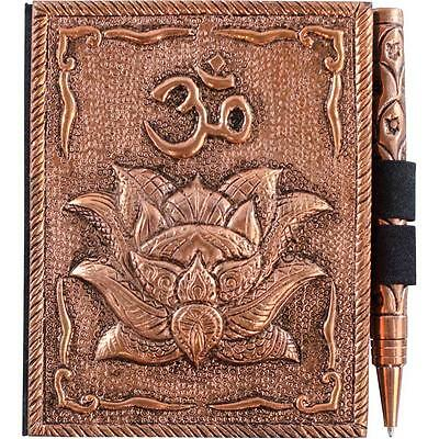 Small Bronze Blank Lotus Book of Shadows, Journal w/Pen!