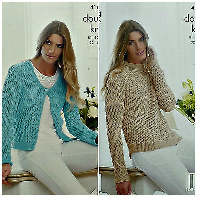 KNITTING PATTERN Ladies Long Sleeve V-Neck Textured Cardigan DK King Cole 4168