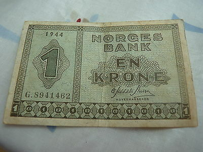 1944 Norway 1 Krone Bank Note in Great Condition - WWII Rare