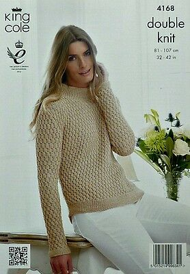 KNITTING PATTERN Ladies Long Sleeve High Neck Textured Jumper DK King Cole 4168