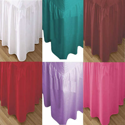 Plain Dyed Pleated Poly Cotton Platform Base Valance Bed Sheets All Sizes