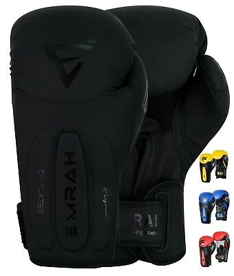 EMRAH Leather Gel Boxing Gloves Fight Punch Bag MMA Muay Thai Grappling Pad J