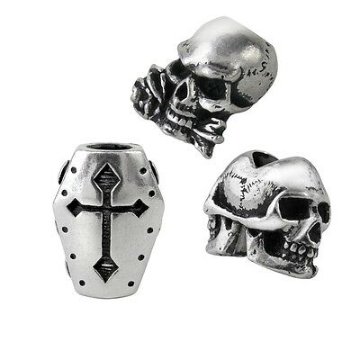 Alchemy Hair Beard Rings Beads SET of 3 janus skull coffin alchemist skull ABR1