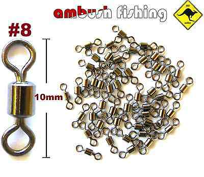 50 ROLLING FISHING SWIVELS SIZE #8 / TEST -19kg black nickel FISHING TACKLE BULK