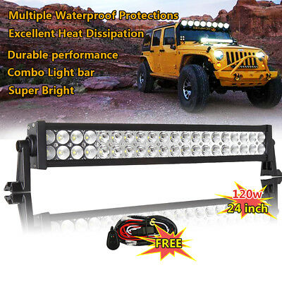 24inch 120W Led Work Light Bar Driving Truck Offroad Jeep 4X4 4WD ATV SUV UTE 20