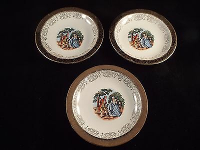 """4 Sabin  Crest O Gold China Saucers Warranted 22K  Courting Couple 9.5"""""""