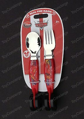 DISNEY Store MEAL TIME MAGIC Collection CARS Fork Spoon FLATWARE Set WHEELS NEW