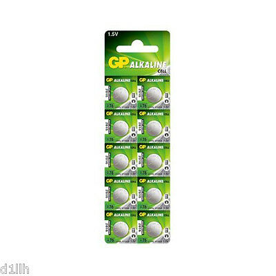 GP Batteries GPA76-C10 Alkaline 1.5V Button Cell - Pack of 10