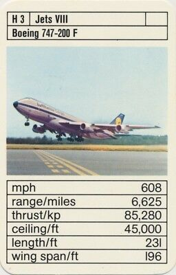 Single Vintage Game Card: Boeing 747-200 F. Jet Aeroplane.