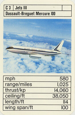 Single Vintage Game Card: Dassault-Breguet Mercure 100. Jet Aeroplane.
