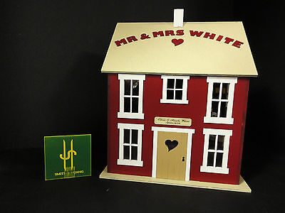 Wedding post box, wooden house for wedding cards personalized free name included