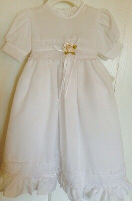 Baby Girl Baptism Christening Gown Lace Rose White New Born NB Cotton Dress NWT