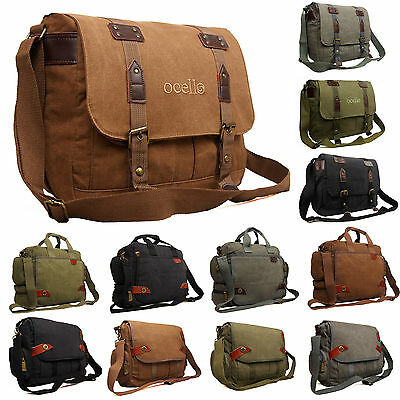 New Canvas Ocello School Work College Laptop Uni Satchel Messenger Shoulder Bag