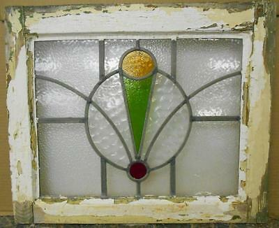 "OLD ENGLISH LEADED STAINED GLASS WINDOW Beautiful Abstract Design 20.5"" x 17"""