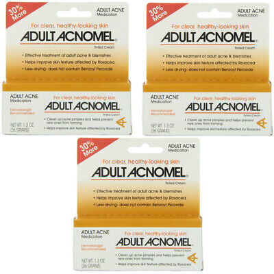 3 Pack Adult Acnomel Tinted Cream Acne Medication - 1.30 oz (36 g) Each