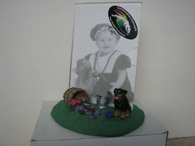 New Dog Rottweiler Photo Picture Frame with Figurine 4x6 Inches CC-DPFB11