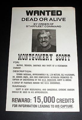 1984 Paramount Pictures Star Trek Wanted Poster, Montgomery Scott, For Mutiny!