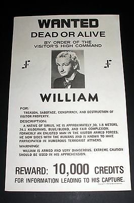 1985 Paramount Pictures Star Trek Wanted Poster, William, For Treason, Sabotage!