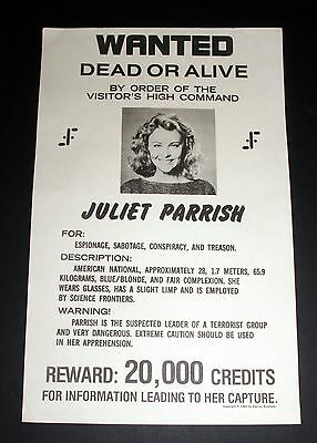 1985 Paramount Pictures Star Trek Wanted Poster, Juliet Parrish, For Espionage!