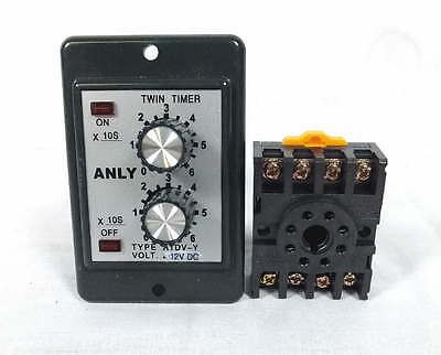 Anly Timer ATDV-Y 60S Double Time Delay Switch w/Relay Base Socket 12VDC 50/60Hz