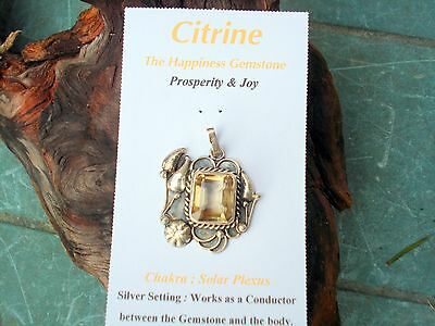 Citrine Quartz Faceted in Sterling Silver Setting-The Happiness-Prosperity Gem!