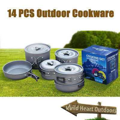 14 Pcs Outdoor Camping Hiking Cookware Backpack Cooking Picnic Bowl Pot Pan Set