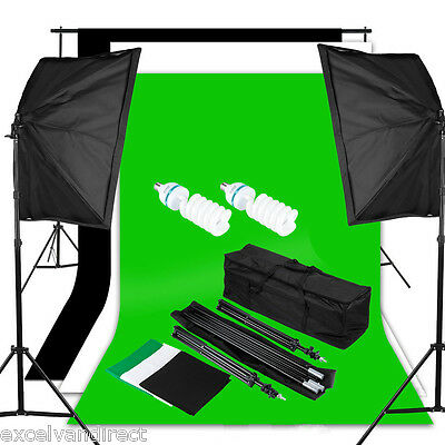Photo Studio Black White Green Backdrop Screen Background Stand Light Bag Kit UK