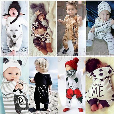 Newborn Kids Baby Boy Girl Infant Cotton Jumpsuit Romper Bodysuit Clothes Outfit