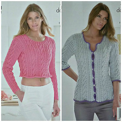 Knitting Pattern Ladies Long Sleeve Textured Jumper Cardigan Dk Kc
