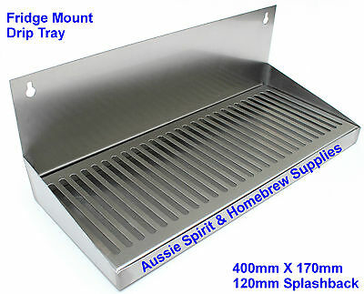 Brand New Stainless Steel Drip Tray Beer Home Brew Fridge Mount Splashback 40 Cm