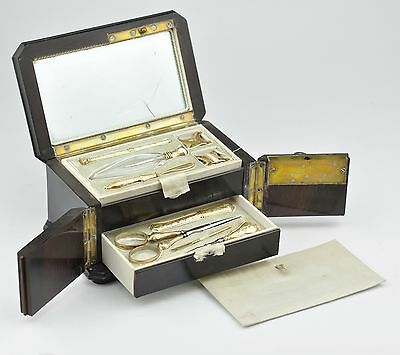 Antique silver gold plated French Sewing Kit Etui set, inlay, scissor, thimble