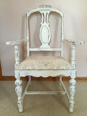 Antique Wooden Arm Side Chair Painted Distressed Cushion Seat Pretty!