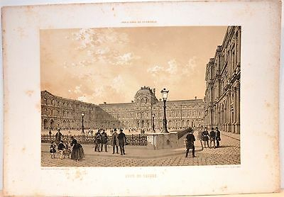 Stampa antica PARIGI PARIS Cortile del Museo del Louvre 1861 Old antique print