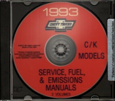 CHEVROLET 1993 Pick Up, Truck, Blazer & Suburban Shop Service Manual CD