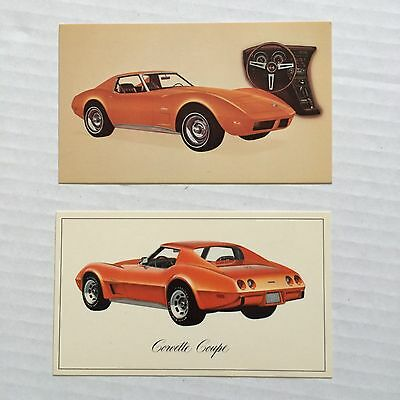 CHEVROLET CORVETTE 1974 AND 1976 2 DIFFERENT Advertising Postcard