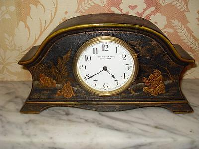 Pretty Chinese Chinoiserie Lacquered 8 Day Mantle Clock