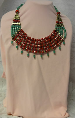 Old Egyptian Revival Massive Chunky Runway Huge Collar Glass Dangle Necklace