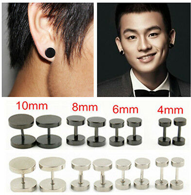 2Pc Round Barbell Screw Stainless Steel Men Earring Punk Gothic Ear Studs 4 Size