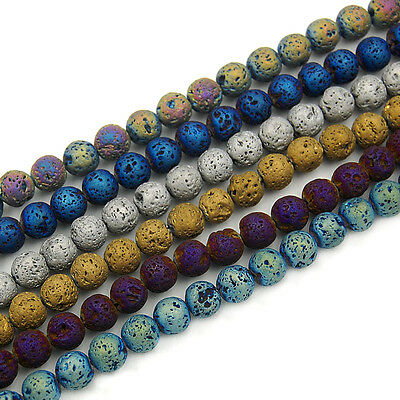 "Metallic Titanium Coated Rock Lava Gemstone Round Beads 15"" 6mm 8mm 10mm 12mm"