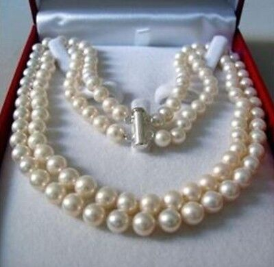"""2 Rows 8-9MM AKOYA SALTWATER PEARL NECKLACE 17-18"""""""