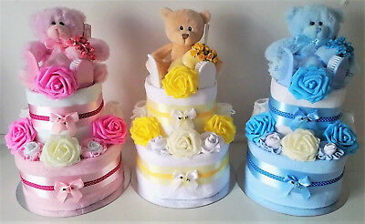 Baby Boy Girl Unisex 2 Tier Nappy Cake New Mum Baby Shower Gift. Handmade New