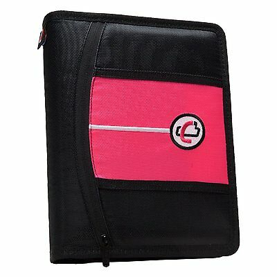The Mini Tab 3 Ring Binder From Case-it Pink MBF-711-NEO-Pnk 2 zippered pockets